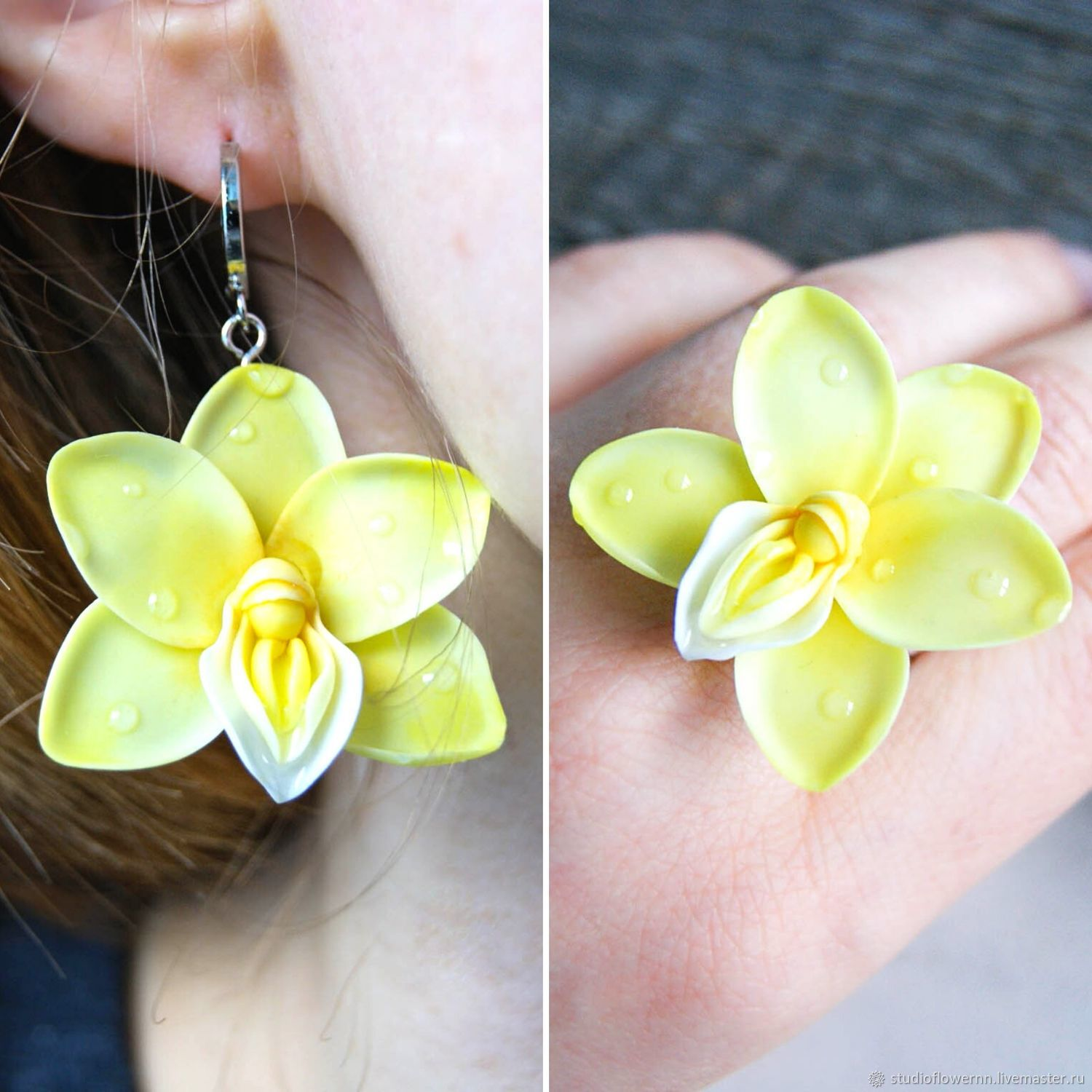 Jewelry set, earrings and ring, yellow orchid, polymer clay, Jewelry Sets, Nizhny Novgorod,  Фото №1