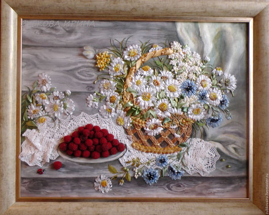 """Натюрморт ручной работы. Ярмарка Мастеров - ручная работа. Купить Картина, вышитая лентами .Натюрморт """"Ромашки и малина"""". Handmade. Белый"""