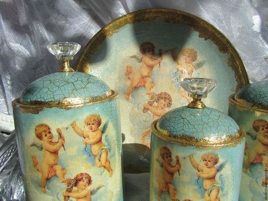 """Ванная комната ручной работы. Ярмарка Мастеров - ручная работа. Купить Набор  """"Нежность ангелов"""" для хранения в ванной комнате,  декупаж. Handmade."""