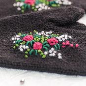"""Аксессуары ручной работы. Ярмарка Мастеров - ручная работа Варежки женские """"Розы в снегу"""", 100 % шерсть. Handmade."""