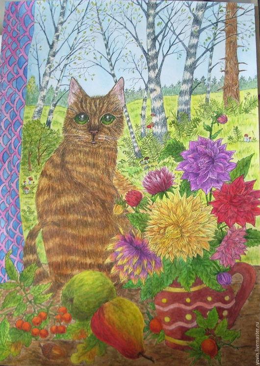 Животные ручной работы. Ярмарка Мастеров - ручная работа. Купить Кошка у окна. Handmade. Комбинированный, окно, картина с котом
