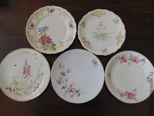 Винтажная посуда. Ярмарка Мастеров - ручная работа. Купить Пять винтажных десертных тарелок Бавария фарфор. Handmade. Комбинированный, фарфор