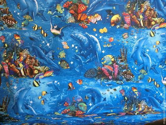 Шитье ручной работы. Ярмарка Мастеров - ручная работа. Купить Ткань хлопок Дети моря. Handmade. Васильковый, лоскутное панно