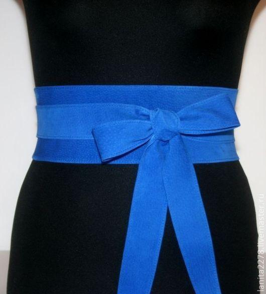 """Пояса, ремни ручной работы. Пояс-кушак """"Blue Romantic"""". Lanita Design. Ярмарка Мастеров."""