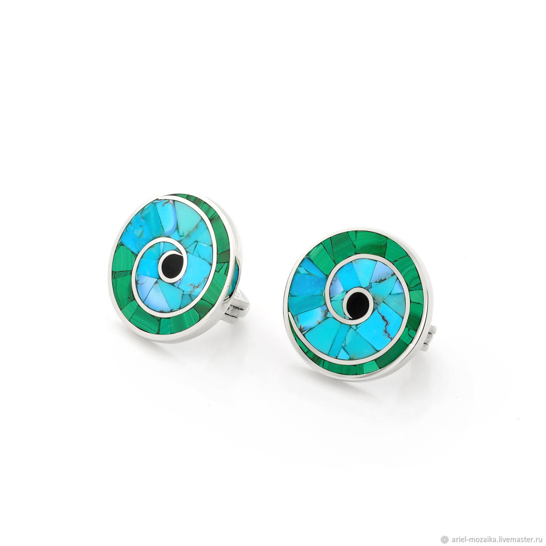 Nautilus EARRINGS. Turquoise and malachite. Natural stones. Handmade, Earrings, Moscow,  Фото №1