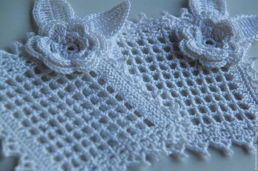 Текстиль, ковры ручной работы. Ярмарка Мастеров - ручная работа. Купить Салфетка с розой (белая). Handmade. Салфетка, столовая, недорого