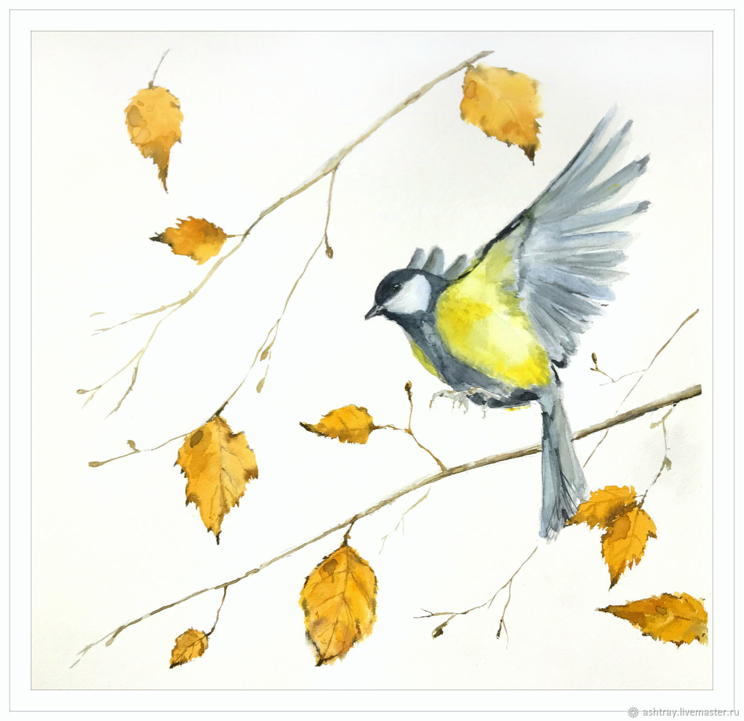 'Mood ' watercolor painting (tit, yellow, birds), Pictures, Korsakov,  Фото №1