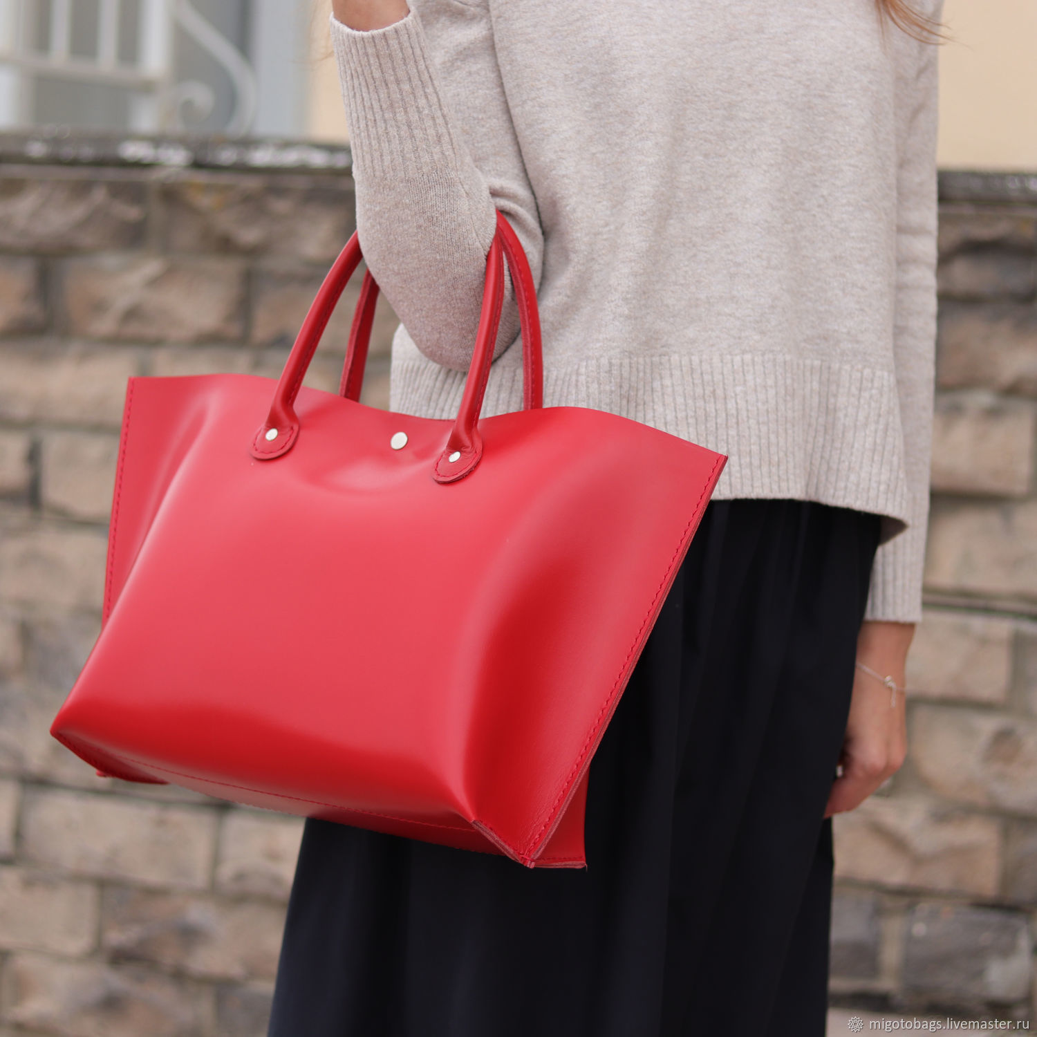women's leather bag red, Classic Bag, St. Petersburg,  Фото №1