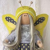 handmade. Livemaster - original item Doll butterfly. Yellow with gray. Interior doll.. Handmade.