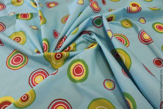 """Шитье ручной работы. Ярмарка Мастеров - ручная работа. Купить Ткань,хлопок,с дизаном""""кружочки""""на голубом фоне,Франция. Handmade. Комбинированный"""