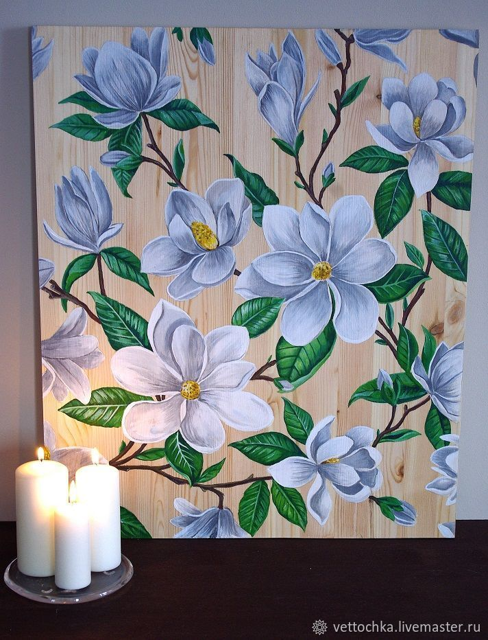Magnolia flowers wooden panel, Pictures, Tomsk,  Фото №1