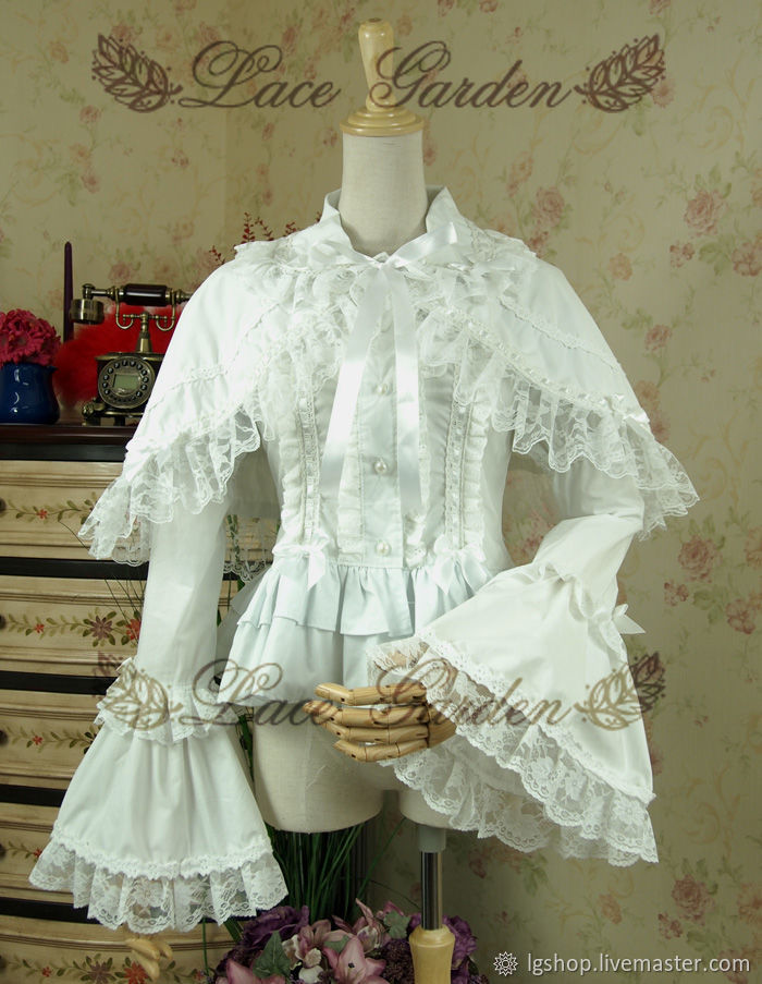 Victorian White Lace Ruffle Blouse With Cape купить на