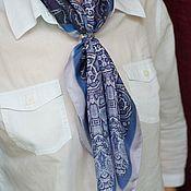 "Аксессуары handmade. Livemaster - original item Silk designer neck scarf ""Steampunk Denim"". Handmade."