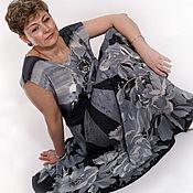 Одежда ручной работы. Ярмарка Мастеров - ручная работа Шелковое платье Монохром-  батик, шелк,ручная роспись. Handmade.