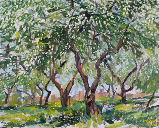 Анна Крюкова (impression-живопись) Картина весенний пейзаж масло Картина весна маслом на холсте Яблоневый сад картина Яблони в цвету