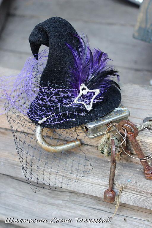 Шляпы ручной работы. Ярмарка Мастеров - ручная работа. Купить Шляпка  Ведьмочки .. Handmade. Черный, прикольная шляпа, маскарадный костюм