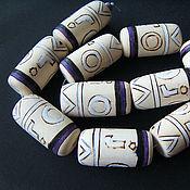 Материалы для творчества handmade. Livemaster - original item White wood artistic beads 30h18mm. Handmade.