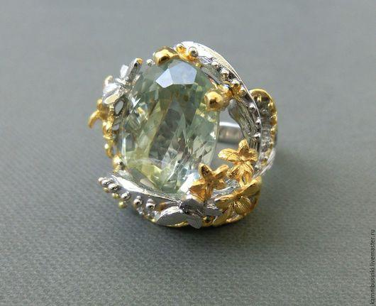 Кольца ручной работы. Ярмарка Мастеров - ручная работа. Купить 18 р-р кольцо зеленый аметист серебро 925 пробы золото. Handmade.