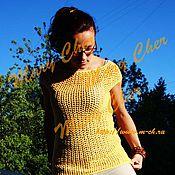 Одежда ручной работы. Ярмарка Мастеров - ручная работа Кофта ажурная желтая летняя вязаная крючком. Handmade.
