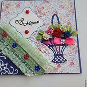 """Открытки ручной работы. Ярмарка Мастеров - ручная работа Открытка к 8 марта """" корзина цветов""""-2. Handmade."""