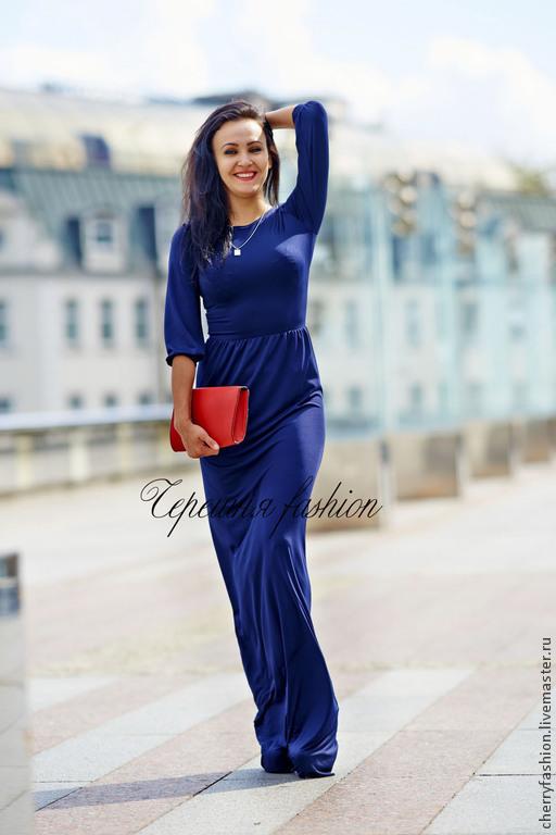 """Платья ручной работы. Ярмарка Мастеров - ручная работа. Купить Платье """"Виктория"""". Handmade. Тёмно-синий, коралловый, вечернее платье"""