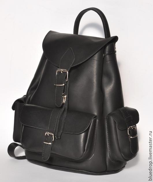 Рюкзаки ручной работы. Ярмарка Мастеров - ручная работа. Купить Большой кожаный рюкзак с тремя карманами - разные цвета кожи. Handmade.