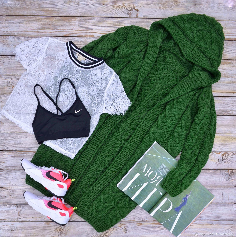 cardigans: Women's knitted cardigan with a hood in green color, Cardigans, Yoshkar-Ola,  Фото №1