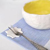 Посуда ручной работы. Ярмарка Мастеров - ручная работа белая пиала с желтым. Handmade.