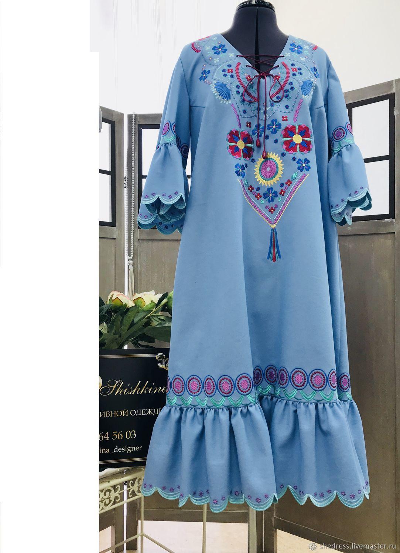 Авторское платье  Удача . С вышивкой.Джинс, Платья, Ижевск,  Фото №1