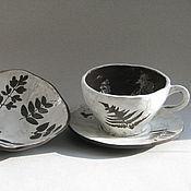 """Посуда ручной работы. Ярмарка Мастеров - ручная работа Чайная пара и миска """"Мое лето"""", набор керамический. Handmade."""