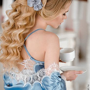 """Одежда ручной работы. Ярмарка Мастеров - ручная работа """"Утро в Париже"""" - пеньюар голубой с кружевом шантильи. Handmade."""