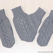 Аксессуары handmade. Livemaster - original item 3 PCs. Mittens for lovers Lovebirds knitted gray. Handmade.