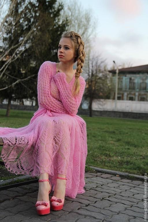 """Платья ручной работы. Ярмарка Мастеров - ручная работа. Купить Платье вязаное """"Бубль гум"""". Handmade. Розовый, платье спицами"""