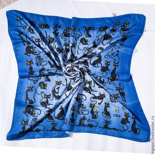 """Другие виды рукоделия ручной работы. Ярмарка Мастеров - ручная работа. Купить Платок """"Кошки"""" синий 02. Handmade. Синий"""