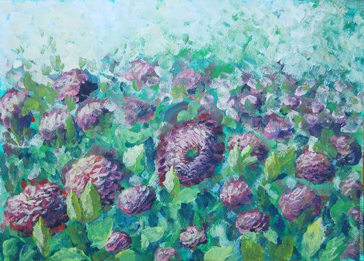 Картины цветов ручной работы. Ярмарка Мастеров - ручная работа. Купить Цветы, А3. Handmade. Бордовый, цветы, букет, Живопись