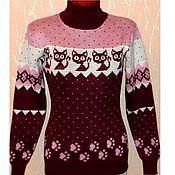 Одежда handmade. Livemaster - original item Women`s sweater with cats Gav the Kitten (brown with pink). Handmade.