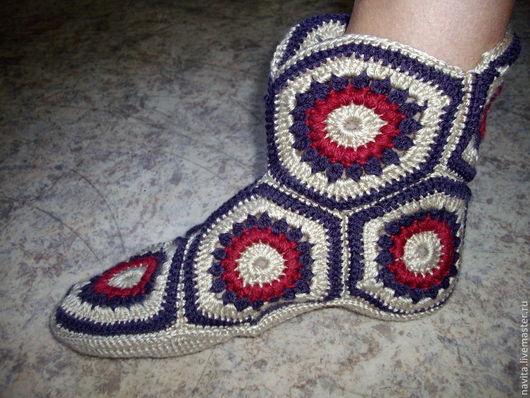 Обувь ручной работы. Ярмарка Мастеров - ручная работа. Купить Домашние сапожки. Handmade. Подарок на любой случай, шерсть с акрилом
