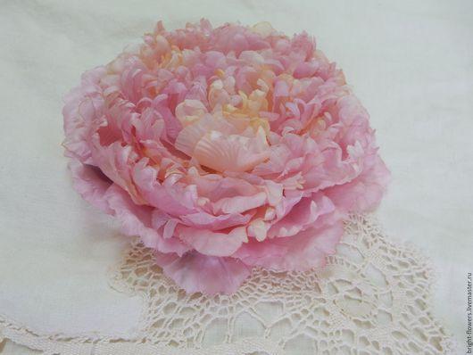 """Цветы ручной работы. Ярмарка Мастеров - ручная работа. Купить Брошь """"Пион"""". Handmade. Розовый, цветок ручной работы"""