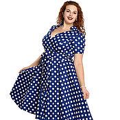 Платья ручной работы. Ярмарка Мастеров - ручная работа Платье ретро Катрин синий большие размеры. Handmade.