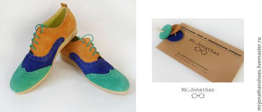 Обувь ручной работы. Ярмарка Мастеров - ручная работа. Купить Оксфорды трехцветные Mr.Jonathan. Handmade. Зеленый, кеды