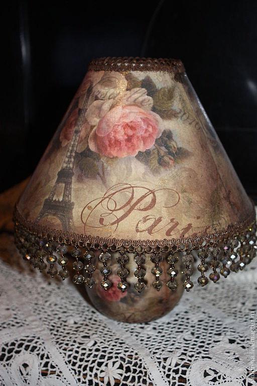"""Освещение ручной работы. Ярмарка Мастеров - ручная работа. Купить Лампа """"Розы Парижа"""". Handmade. Бежевый, ручная работа, Декупаж"""