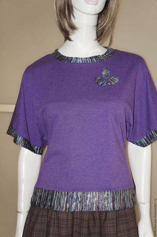 Кофты и свитера ручной работы. Ярмарка Мастеров - ручная работа. Купить Джемпер р.46-48 осень-весна трикотаж фиолет. Handmade.