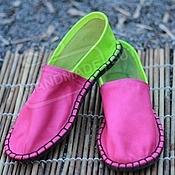 Обувь ручной работы handmade. Livemaster - original item Espadrilles leather fuchsia with lime green unisex. Handmade.