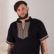 Русский стиль handmade. Livemaster - original item Men`s Mountain linen shirt. Handmade.