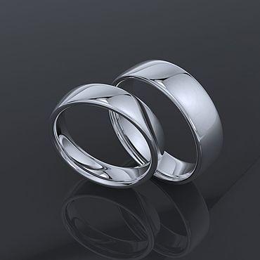 Свадебный салон ручной работы. Ярмарка Мастеров - ручная работа Классические обручальные кольца из белого золота. Handmade.