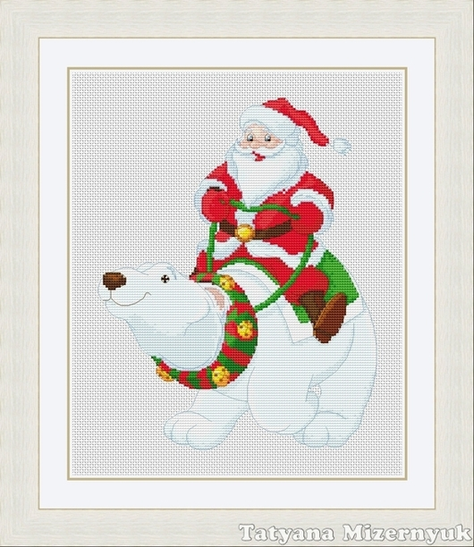 """Вышивка ручной работы. Ярмарка Мастеров - ручная работа. Купить Схема для вышивки крестиком """"Дед Мороз на белом медведе"""". Handmade."""