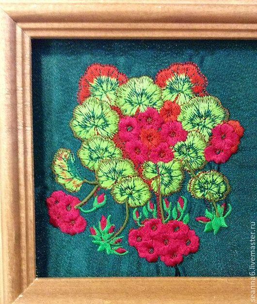"""Картины цветов ручной работы. Ярмарка Мастеров - ручная работа. Купить Вышитая картина, картинка, панно, одежда """"Бегония"""". Handmade."""