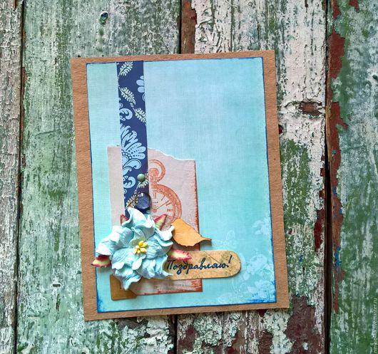 Открытки для женщин, ручной работы. Ярмарка Мастеров - ручная работа. Купить Поздравительная открытка с гарденией. Handmade. Бирюзовый, голубой, узор