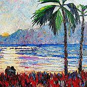 """Картины ручной работы. Ярмарка Мастеров - ручная работа """"Вечернее солнце"""". Пейзаж с пальмами, солнцем, морем.. Handmade."""
