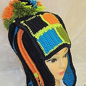 Аксессуары handmade. Livemaster - original item Warm winter wool hat with ear Squares. Handmade.